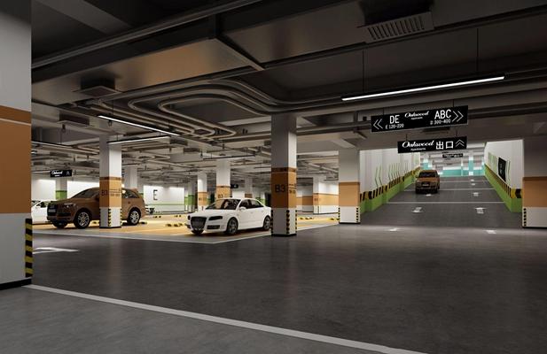 现代地下车库3D模型【ID:227894628】