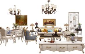 欧式皮革沙发茶几电视柜餐桌椅吊灯组合3D模型【ID:127752060】