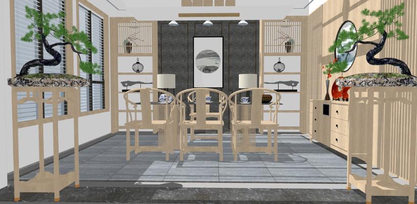 新中式茶室SU模型【ID:647338061】