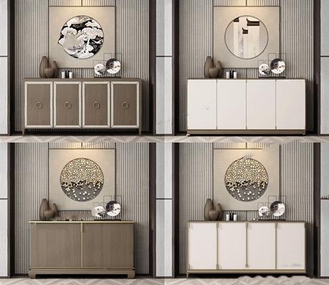 新中式邊柜玄關柜組合3D模型【ID:928343135】