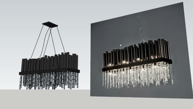 溫徹斯特-由金屬吊燈吊墜SU模型【ID:540388074】