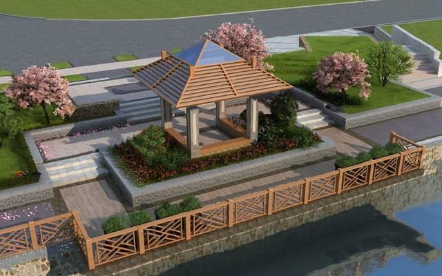 现代园林景观3D模型【ID:824880483】