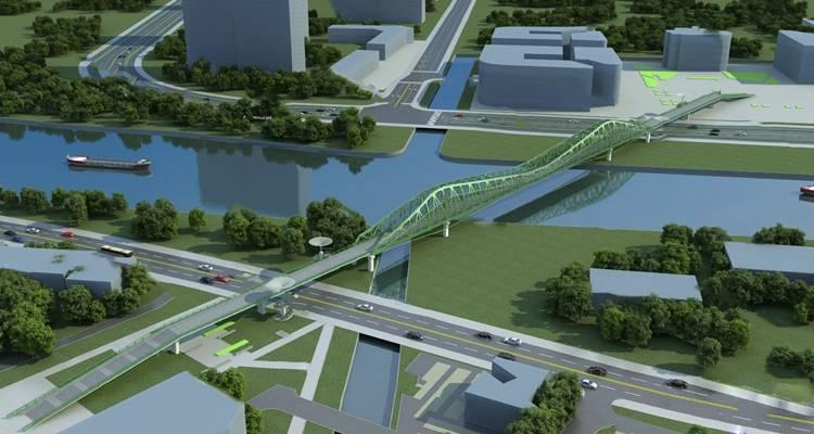 现代桥3D模型【ID:624896070】
