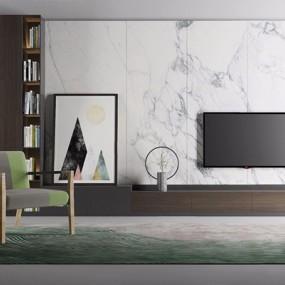 現代電視背景墻單椅組合3D模型【ID:227886415】