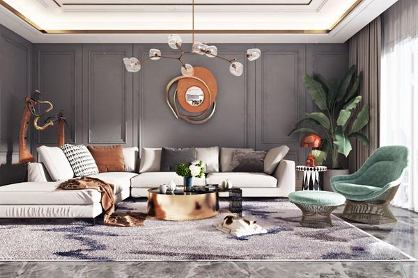 现代轻奢沙发组合3D模型【ID:647686716】