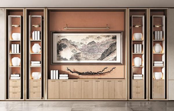 新中式書柜3D模型【ID:146262576】