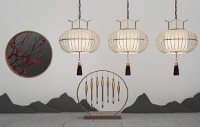 新中式吊灯摆件组合3D模型【ID:927822537】