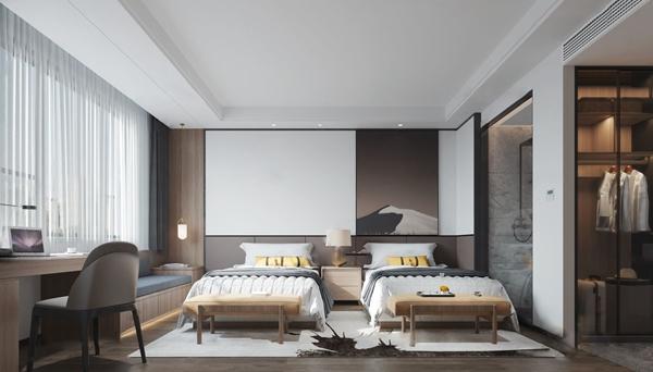 现代酒店客房3D模型【ID:749328363】