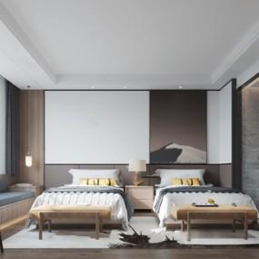 現代酒店客房3d模型【ID:749328363】