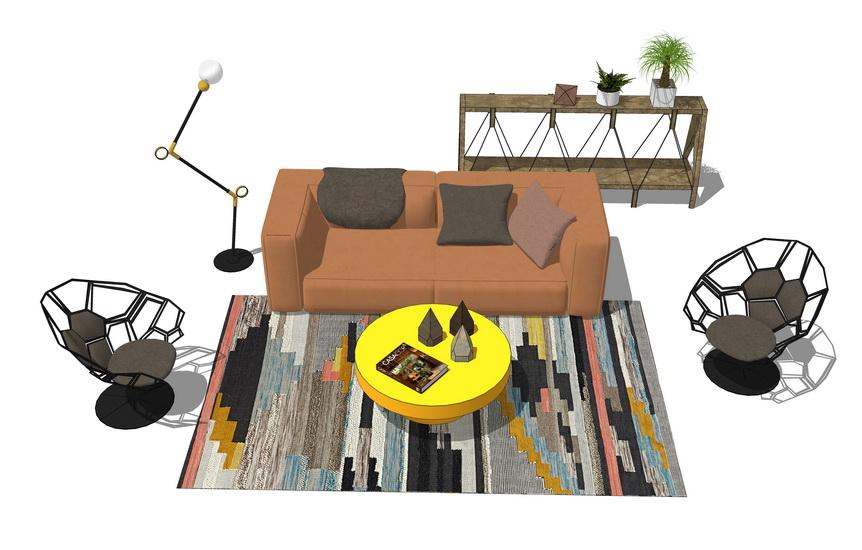 現代客廳沙發茶幾裝飾柜組合SU模型【ID:437045121】