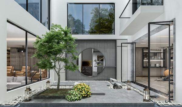 新中式中庭酒窖健身房影音室3D模型【ID:547856946】