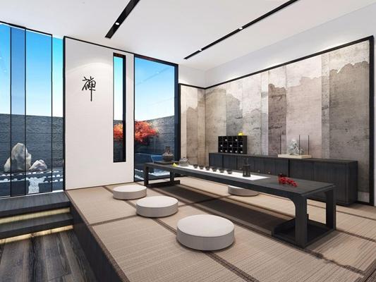 新中式茶室3D模型【ID:327931778】