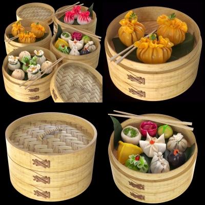 中式蒸笼早餐早点包子烧麦3D模型【ID:228424915】
