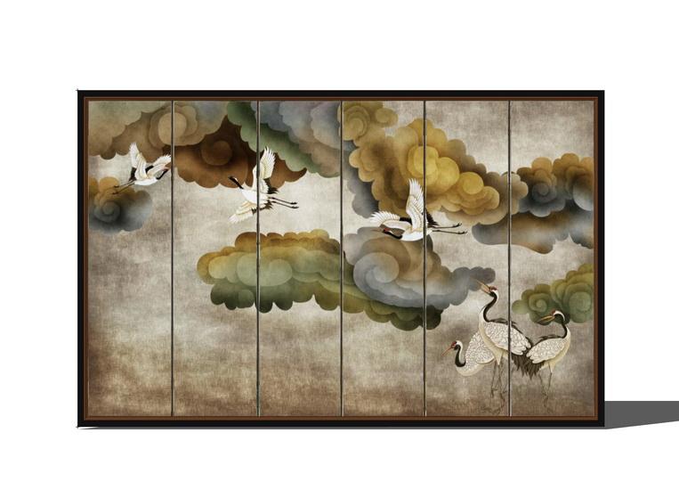 新中式背景墙SU模型【ID:937047479】