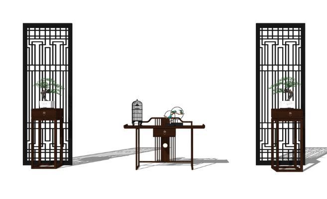 中式玄關柜SU模型【ID:247252218】