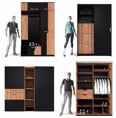 現代衣柜鞋柜人物組合3D模型【ID:928208913】