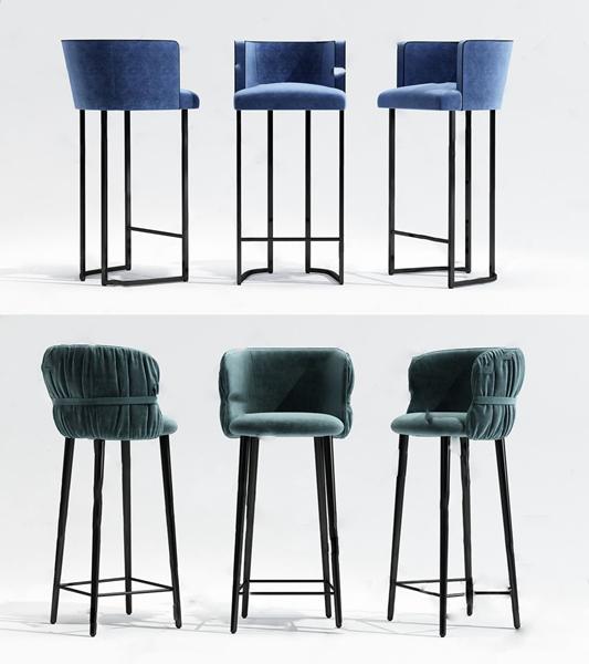 現代吧椅組合3D模型【ID:946258245】