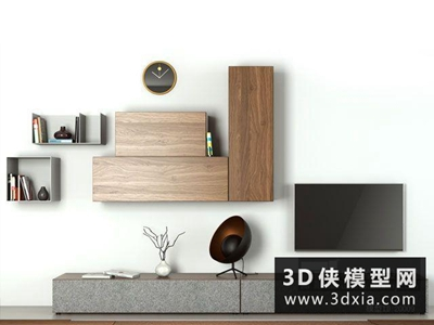 現代電視柜組合國外3D模型【ID:829525039】