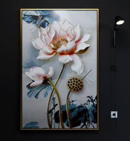 新中式荷花浮雕裝飾畫壁燈3D模型【ID:127755064】