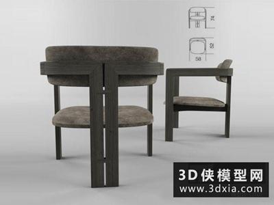 現代中式休閑椅國外3D模型【ID:729766849】