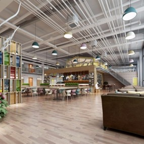 现代工业风休闲餐厅3D模型【ID:528010589】