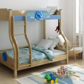 儿童房上下床3D模型【ID:728084220】