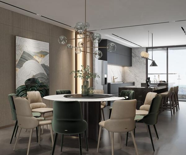 现代餐厅厨房3D模型【ID:547686144】