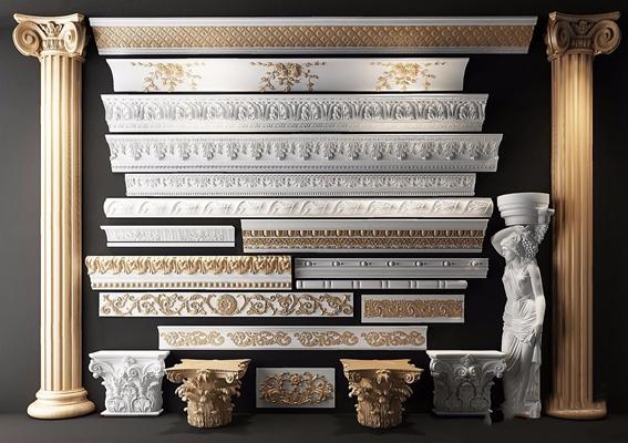 歐式古典石膏線角線雕花雕刻羅馬柱3D模型【ID:828153690】