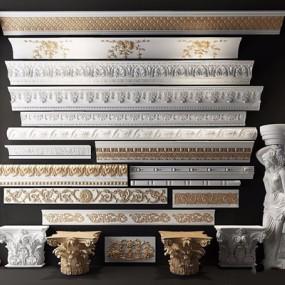 欧式古典石膏线角线雕花雕刻罗马柱3D模型【ID:828153690】