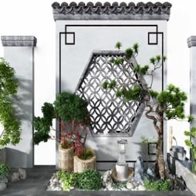 中式松树景观小品3d模型【ID:150472470】