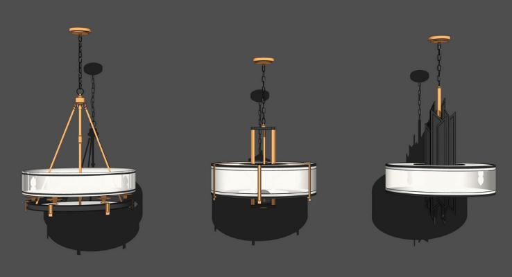新中式吊燈組合SU模型【ID:347337874】