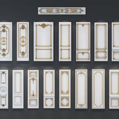 歐式雕花實木護墻板3D模型【ID:128402110】