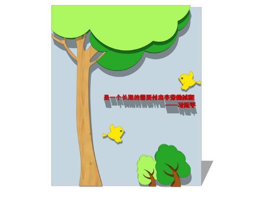 現代大樹小鳥裝飾畫墻飾SU模型【ID:948072782】