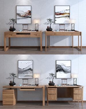 新中式書桌組合3D模型【ID:932410072】
