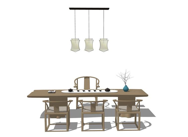新中式茶桌椅组合SU模型【ID:637057691】