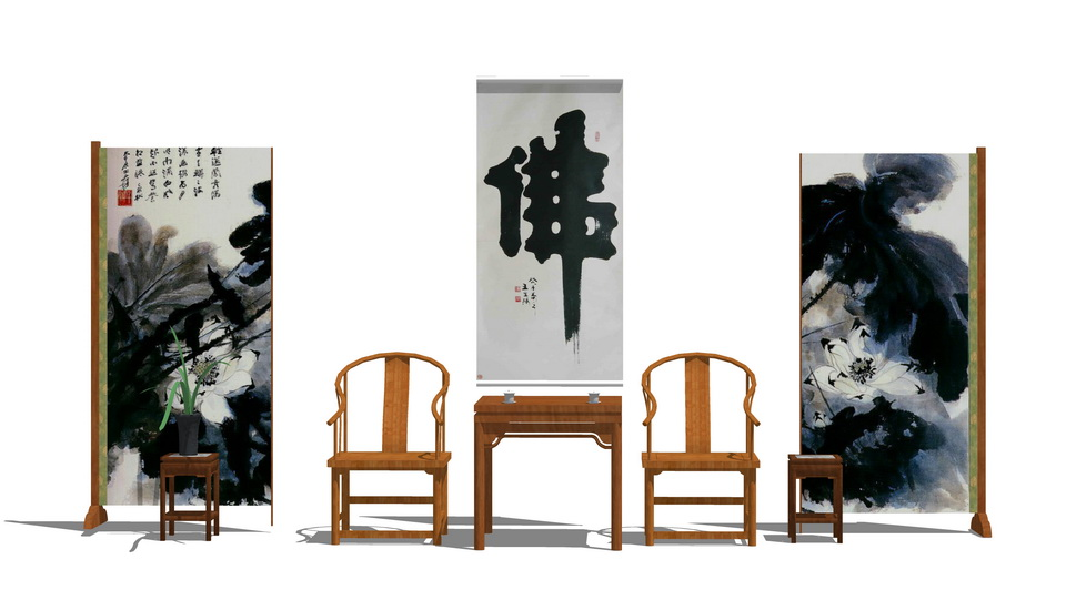 中式桌椅SU模型【ID:937058414】