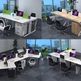 现代办公桌椅3D模型【ID:427934172】