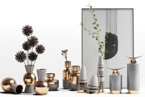现代奢华金属花瓶花卉摆件组合3D模型【ID:927827115】