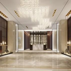 新中式售楼处前台大厅3D模型【ID:428443556】