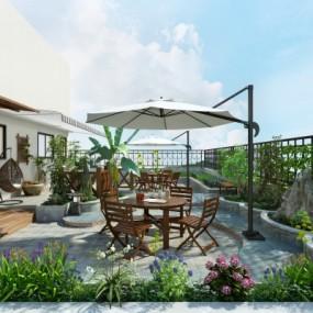 现代阳台花园3D模型【ID:927836958】