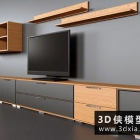 现代电视柜组合国外3D模型【ID:829674047】
