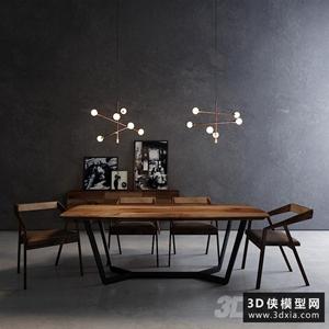 现代餐桌椅组合国外3D模型【ID:729325776】