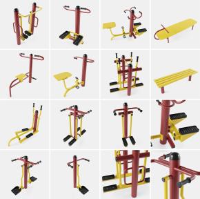 现代公共运动器材组合3D模型【ID:927817984】