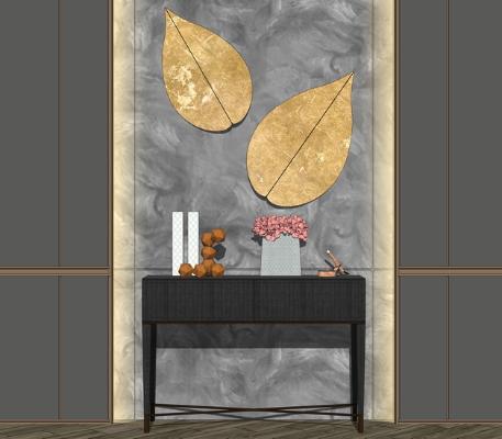 現代玄關柜墻飾組合SU模型【ID:247336282】