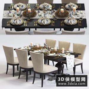現代餐桌椅国外3D模型【ID:729315714】