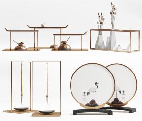 新中式金屬裝飾品擺件組合3D模型【ID:927827147】