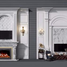 欧式壁炉背景墙组合3D模型【ID:828473166】