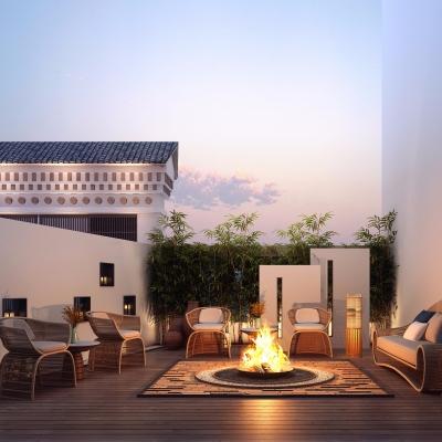新中式庭院露台休闲区3D模型【ID:928559903】