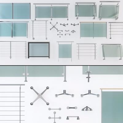現代玻璃欄桿爪手扶手3D模型【ID:828474508】