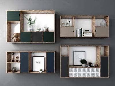 现代壁柜3D模型【ID:641354273】
